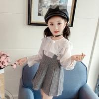 Kids girls clothes white turn down collar long sleeve blouse + plaid mini strap dress cute fashion autum girl clothes set