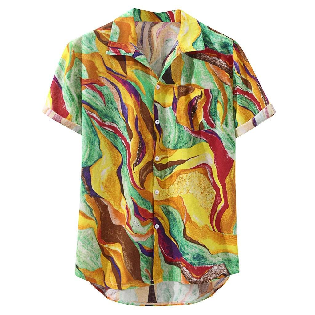 Womail Mens Hawaiian Pocket Short Sleeve Loose Shirts Print Linen Blouse Hawaiian Shirts Cotton Fashion Men Beach Hawaiian Shirt