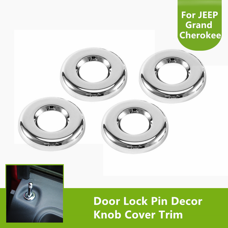 4pcs chrome auto decoration inner door lock pin knob cover trim for jeep dodge 2007 2015 in. Black Bedroom Furniture Sets. Home Design Ideas
