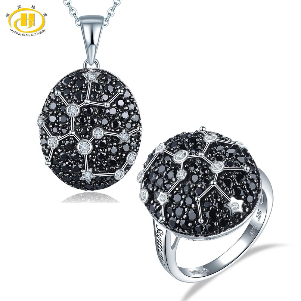 Hutang Sagittarius Черный шпинель Ювелирные наборы кулонов кольцо 925 серебряные ювелирные изделия для женщин подарок 23th Nov до 21th December
