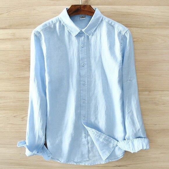 Męska 100% czysty len koszula z długimi rękawami mężczyźni