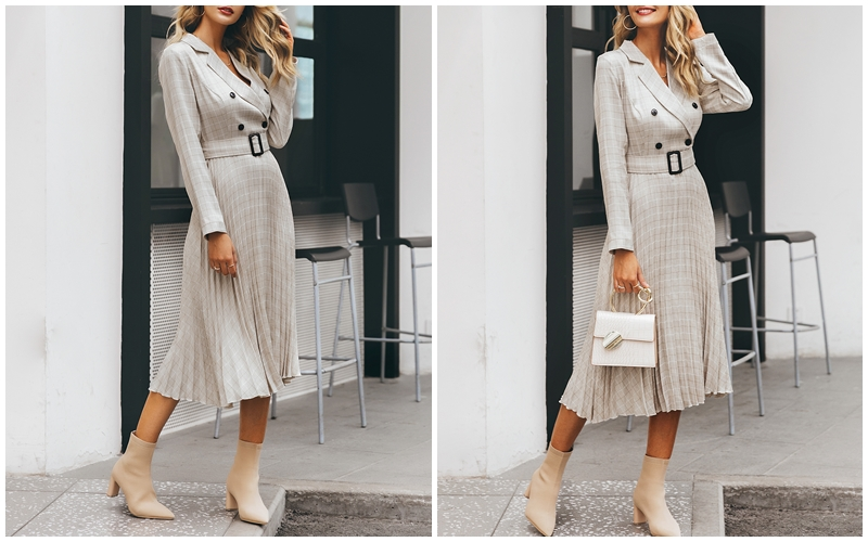 Affogatoo Elegant button belt Plaid women blazer dress Sexy v-neck pleated office ladies dress Long sleeve female party dresses 6