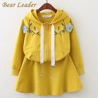 Bear Leader Girls Clothing Set 2017 New Autumn Children Set Embroidered Hooded Sports Cardigan Short Skirt