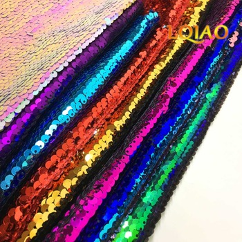 2021 Hot!!! Reversible Sequin Fabric Black-Silver Flip Up Mermaid Sequin Fabric for Pillow Cover/Wedding Decor/Evening Dresses image