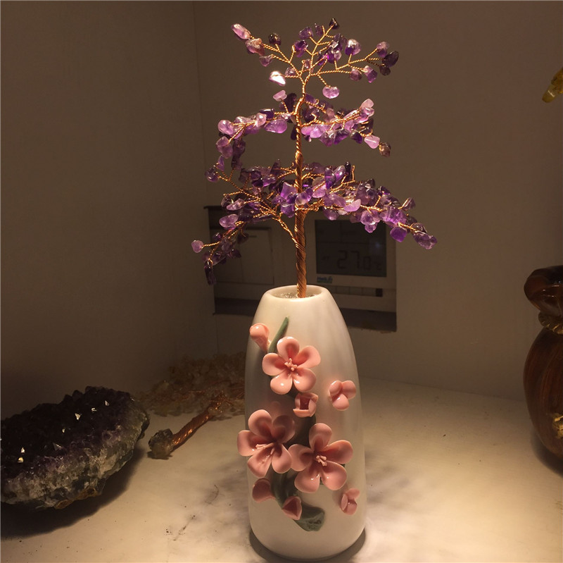 Natural purple crystal money tree with the beautiful vase for wealth luck home & wedding decoration and holiday business gift