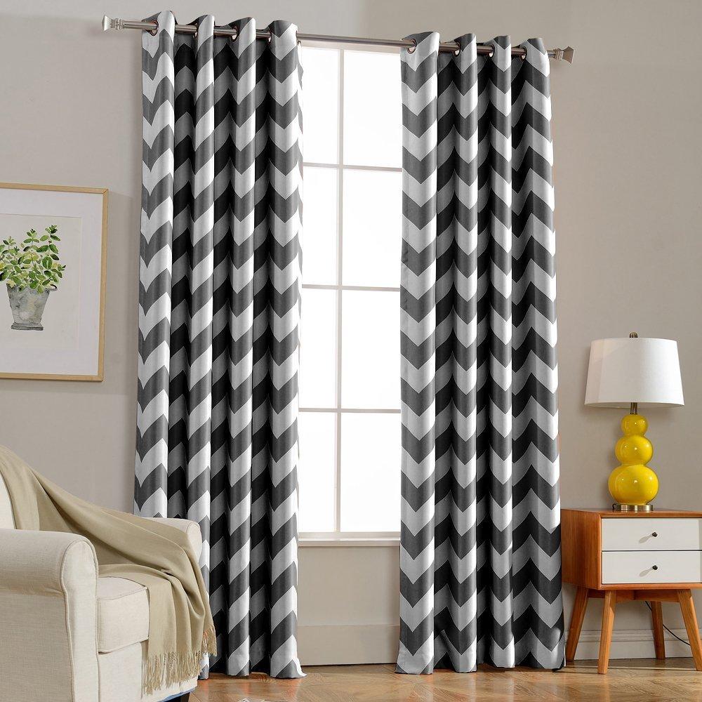 estilo europeo cortina de la ventana cortina cortina gris de chevron chevron azul oscuro cortina sala