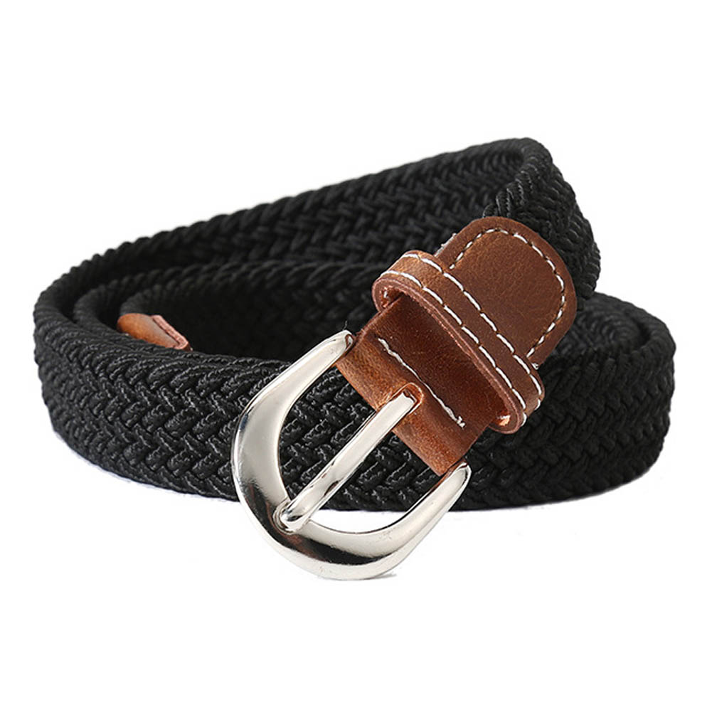Hot Women Men Belt Top Quality 2.5 Cm Wide Woven Stretch Braided Elastic Leather Buckle Luxury Canvas Belts