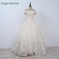 Angel Novias Long Ball Gown Wedding Dresses 2018 Vestido De Novia Sirena Light Champagne Lace Up Lace Bridal Dress