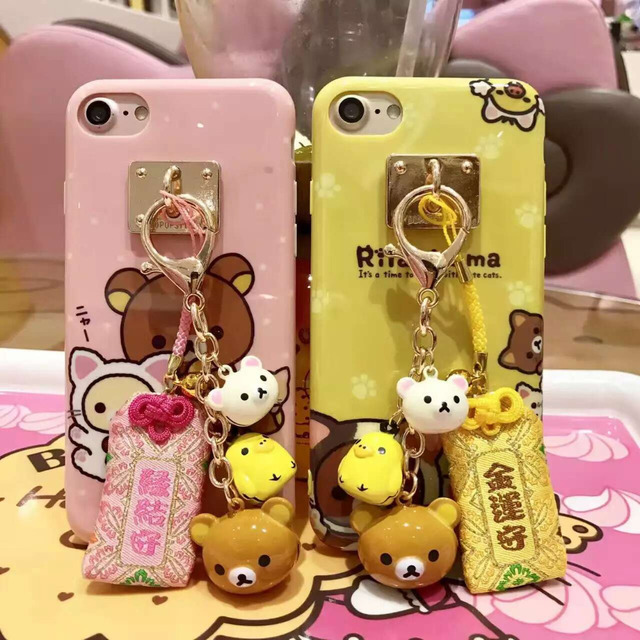 sale retailer f0f69 b3b38 US $5.95 |Rilakkuma Printed Case for iPhone X 8 7 6 6s plus Soft IMD TPU  Gel Back Case Funda Cover with Bell and Lucky Bag-in Fitted Cases from ...