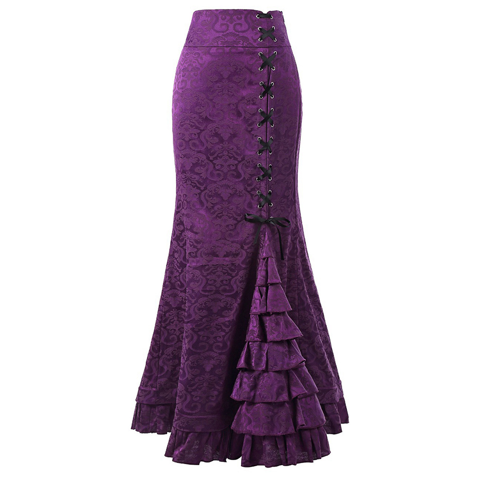 Women Gothic Mermaid Skirts Ruffle Lace Up Purple Black Red Gray Skirts Bodycon Maxi Long Retro Goth Middle Ages Vintage Skirts
