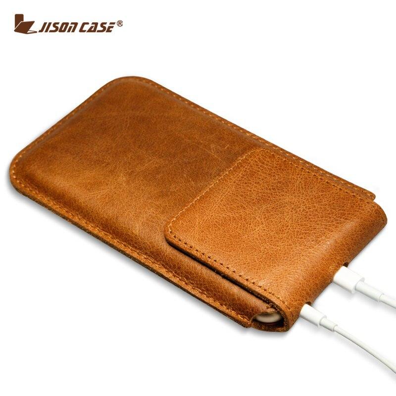 imágenes para Coque Jisoncase caja Del Cuero Genuino Para el iphone 6 s Plus Cubierta de la Caja de La Manga para el iphone 6 plus Bolsa de Cierre Magnético de La Bolsa Bolsa de 5.5 pulgadas