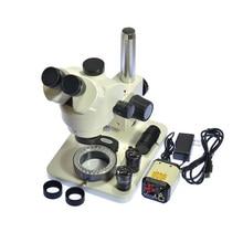 7X-45X Mikroskop Kontroli Przemysłu Zoom Trinocular Stereo + 30X-500X VGA AV TV Video Camera + 56 LED USB Światła + C adapter