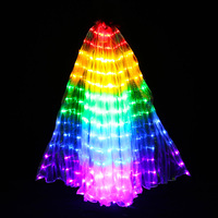 Multicolor Led Isis Wings with Holding Sticks Belly Dance Stage Performance Club Light Up Costume Props 360 Open