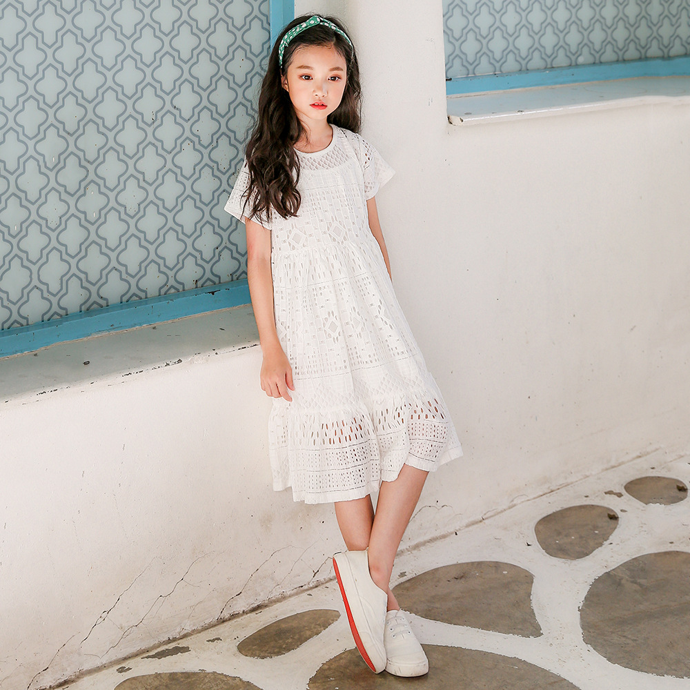 lace big girls dresses 2018 kids clothes for girls children summer cotton hollow out white princess dress party teenagers girls джемперы scorpion bay джемпер