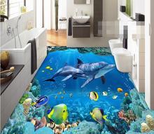 3 d pvc flooring waterproof wall paper  Underwater world --3d bathroom flooring picture mural photo wallpaper for walls 3d все цены
