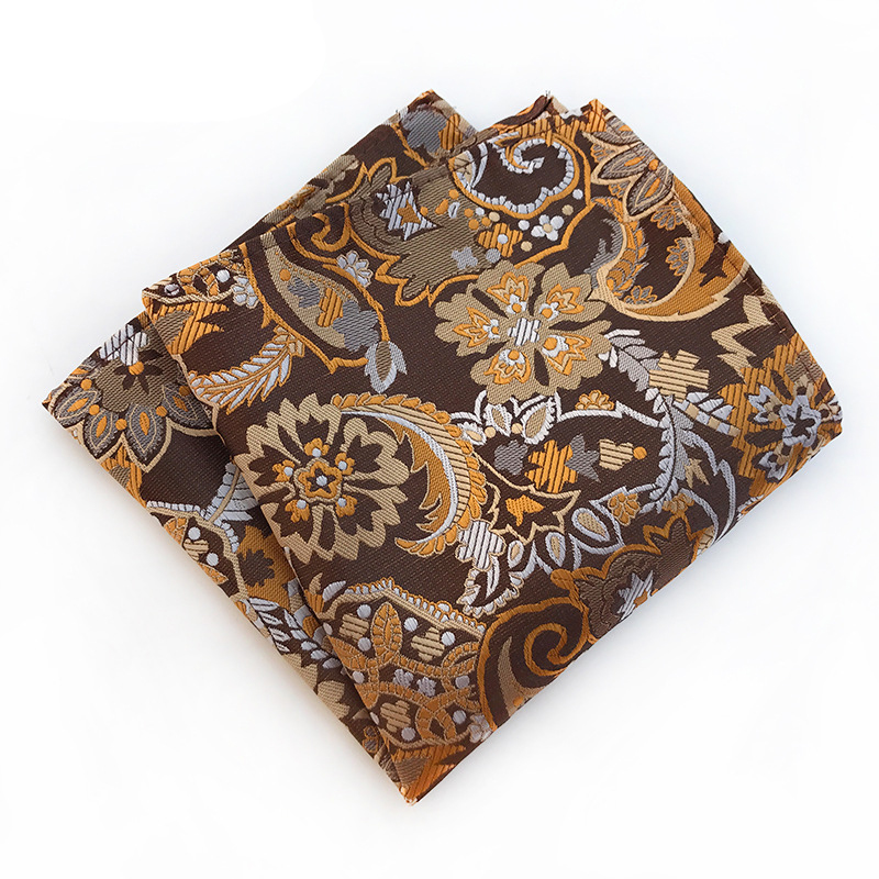 Men's Business Pocket Square Handkerchief Polka Dot Striped Floral Printed Hankies Polyester Hanky Chest Towel 25*25CM