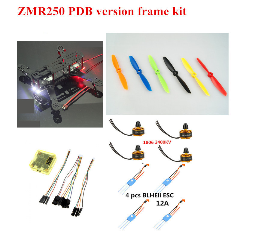DIY FPV mini drone ZMR250 frame kit fiberglass/carbon fiber with 1806 2400KV motor +Ordinary 12A BLHeli ESC +CC3D +5-6inch prop diy mini fpv 250 racing quadcopter carbon fiber frame run with 4s kit cc3d emax mt2204 ii 2300kv dragonfly 12a esc opto