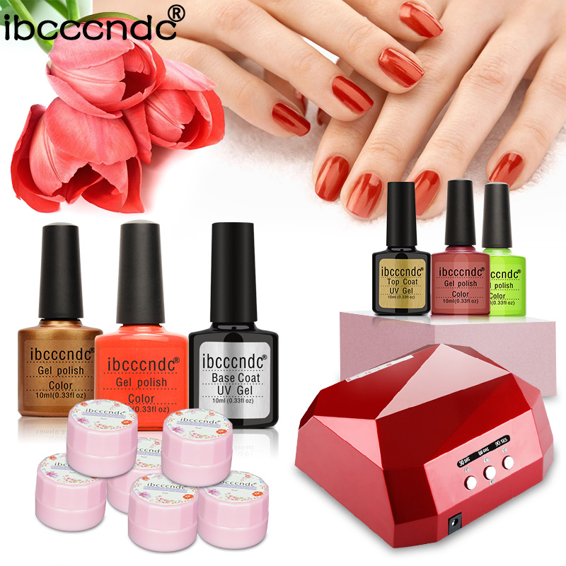 Nail art Set diamond LED Lamp dryer 4 nail Gel polish uv gel varnish Nail Polish top base coat manicure tools set nail kits em 128 free shipping uv gel nail polish set nail tools professional set uv gel color with uv led lamp set nail art tools