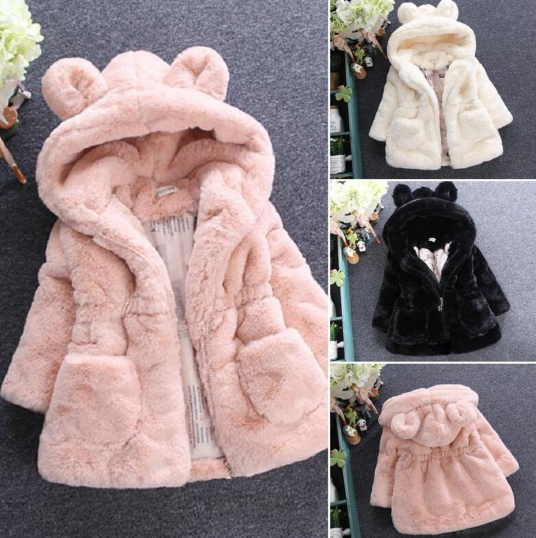 Baby Autumn Winter Waistcoat Children's Rabbit ears Fur Girls Artificial fur Coat Kids Faux Fur Fabric Clothes Fur coat