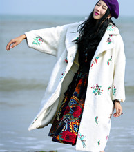 MX Autumn Winter Women Vintage&Retro Thickening White Wool Coat Luxury Embroidery Berber Fleece Outerwear Wadded Jacket