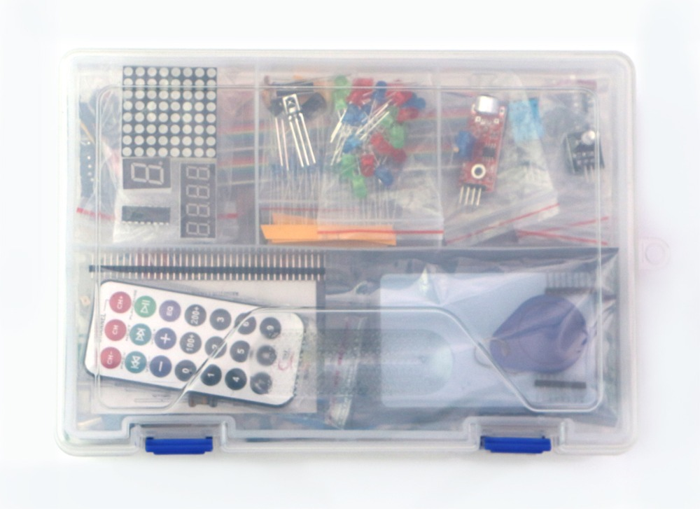 Kit for ardui uno with mega 2560 / lcd1602 / hc-sr04 /dupont line in plastic box