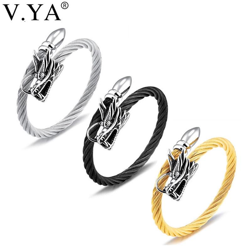 V.YA Punk Evil Dragon Rope Bracelet For Men Stainless Steel White/ Black/ Gold Color 185mm Wire Braided Hemp Rope Bracelets Gift