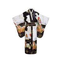Черные женские японские традиции юката кимоно для ванной Халат платье с Оби Цветок Винтаж Вечеринка косплэй костюм