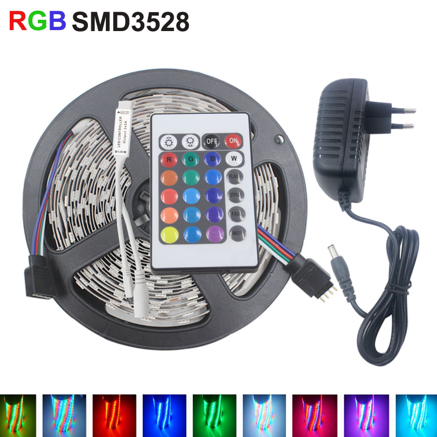 5M RGB Led Strip Light SMD 3528 Waterproof Flexible Light 5m/roll Diode Tape +EU/US DC 12V 2A Adapter+Controller led kit led strip kit led strip light 3528 smd 20m 1200leds dc12v flexible led ribbon diode tape forrf touch remote 78w power supply