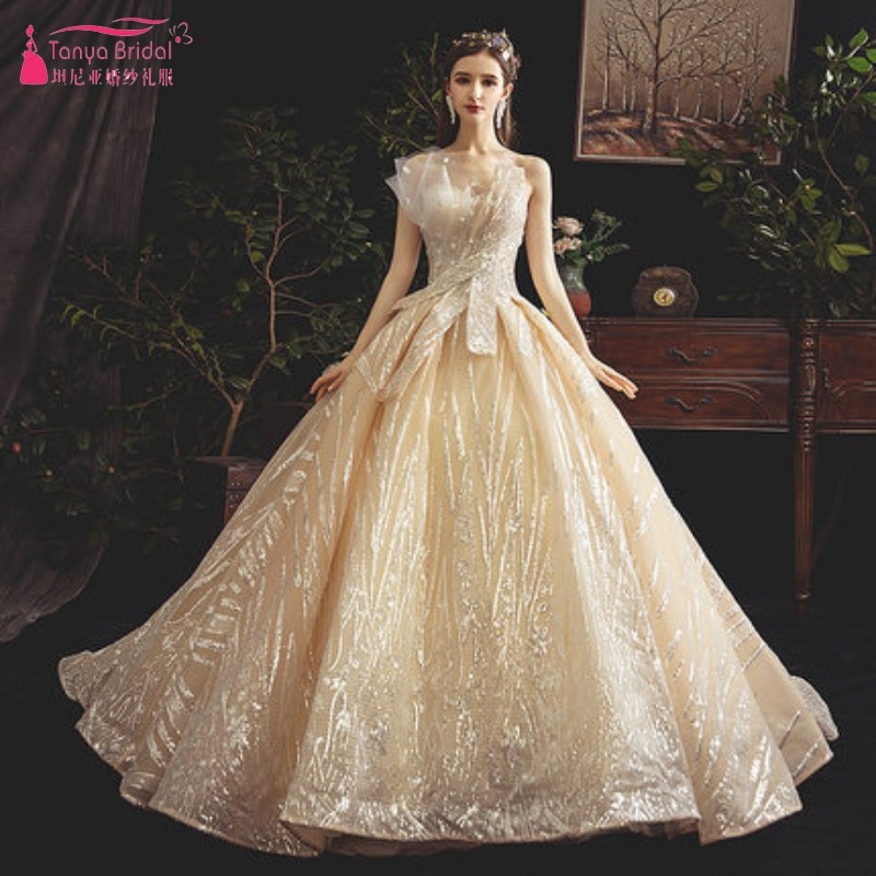 US $260.1 10% OFF|New Design Gold Chapel Train Ball Gown Wedding Dress 2019  Sexy Lace Up Strapless Princess Bride Gown Robe De Mariage DQG850-in ...