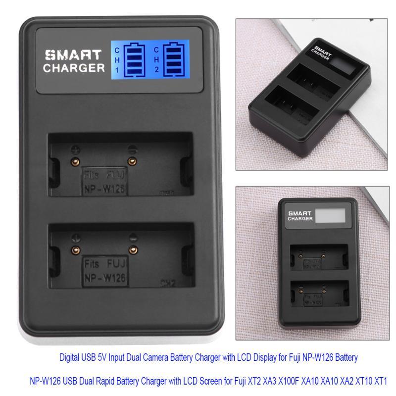USB 5V USB Dual Rapid Battery Charger with LCD Screen for Fuji XT2 XA3 X100F XA10 XA10 XA2 XT10 XT1 Camera Battery Charger