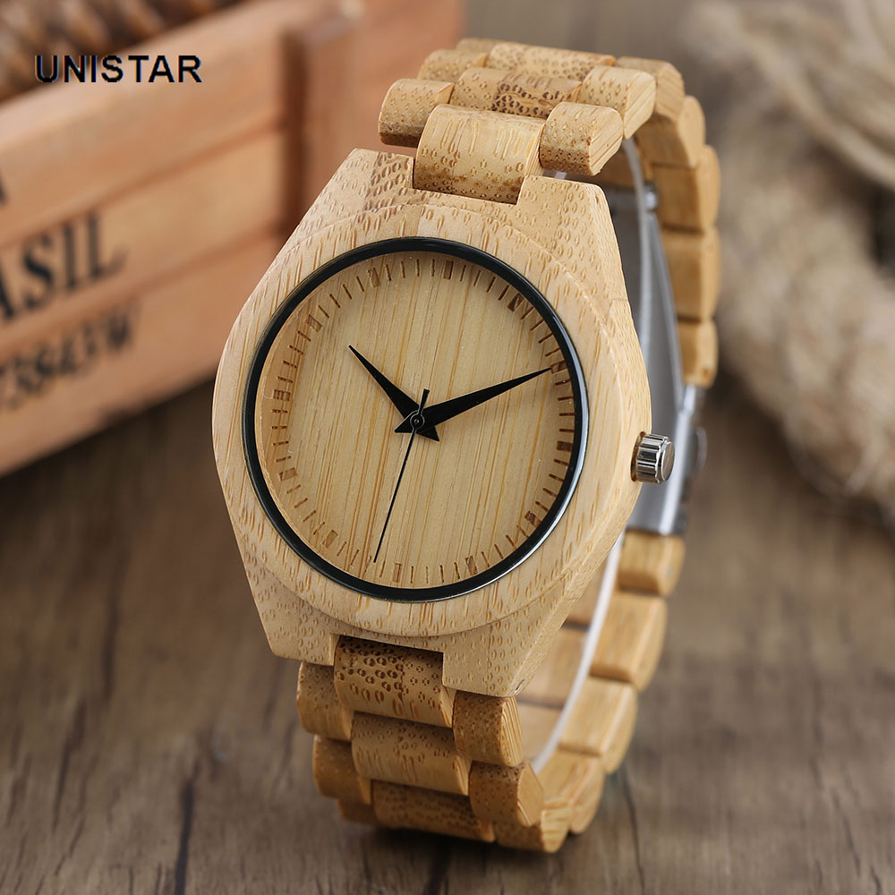 UNISTAR Top Brand Luxury Bamboo Wood Wrist Watches Father's Day Gift Top Men Fashion Casual Round Case Vintage Men Watches unistar luxury nature wooden wrist watches quartz father s day gift top men women watches relojes de madera relogio masculino