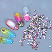 2058NoHF SS6 1440pcs Crystal AB Flatback Non Hot Fix Rhinestone Glue On For Nails Small Size Nail Art Rhinestone mix sizes 1000pcs aquamarin nail art rhinestone glass flatback non hot fix rhinestones glue on crystal for nails decorations