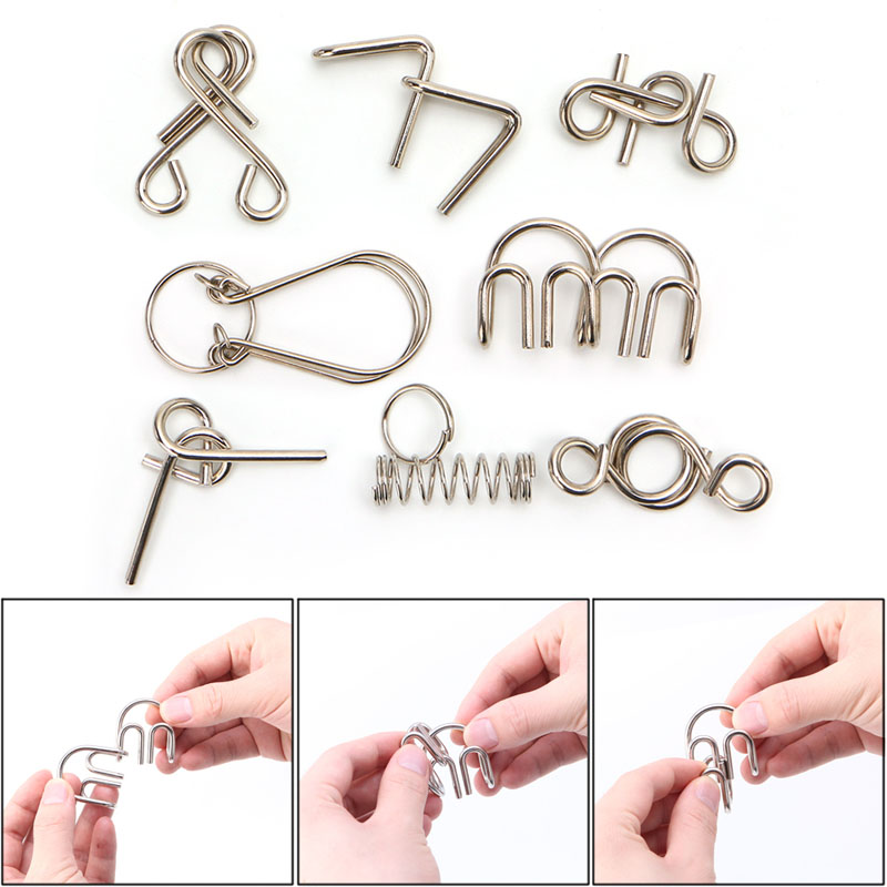 8Pcs/set Metal Wire Puzzle Game IQ Mind Test Brain Teaser Toys for Kids Adults Toy Gift