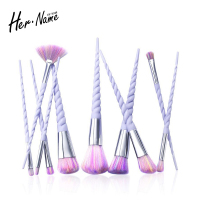 Hername 10Pcs Set Powder Eyeshadow Blending Dazzle Glitter Contour Concealer Brush Kit Makeup Brush