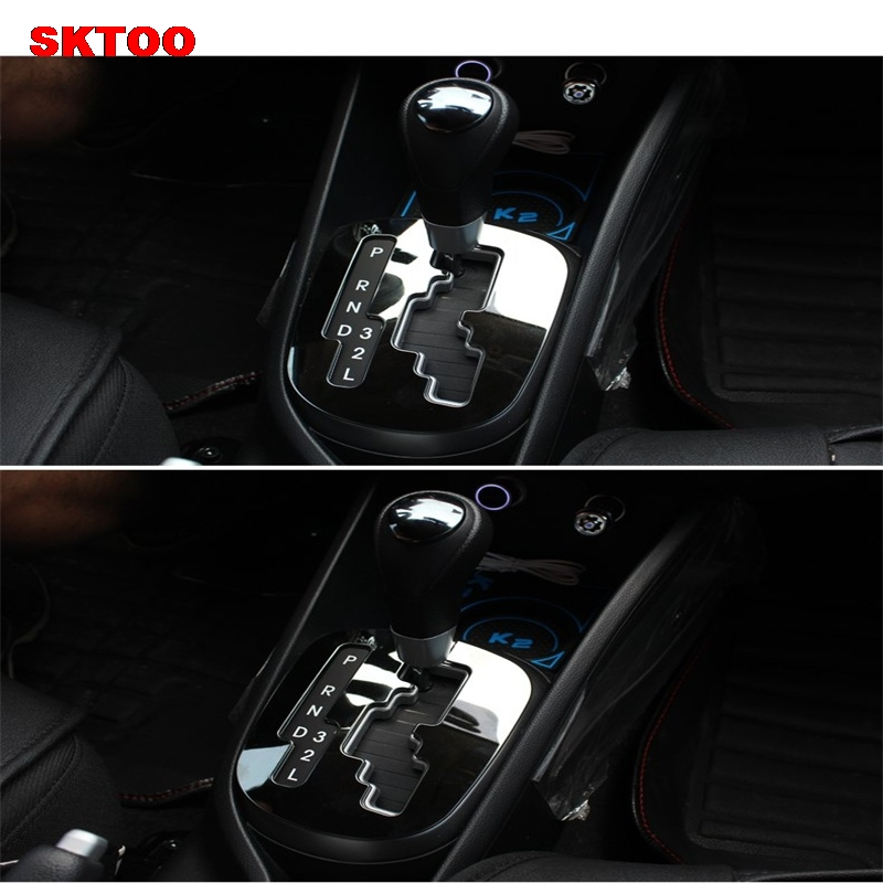 SKTOO Car styling ,ABS chrome trim Car Gear head sticker style Gear Shift decoration cover For KIA RIO K2 2011 2012 2013 2014