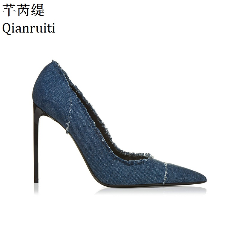 Qianruiti Hot Sale Blue Denim High Heels Women Shoes Pointed Toe Thin Heel Women Sandals Kim Kardashian Street Style Women Pumps