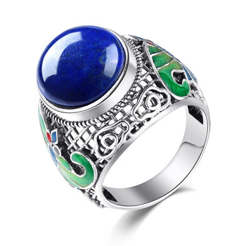 925 Sterling Silver Genuine natural Lapis butterfly ring cloisonne enamel ring Ms. new food
