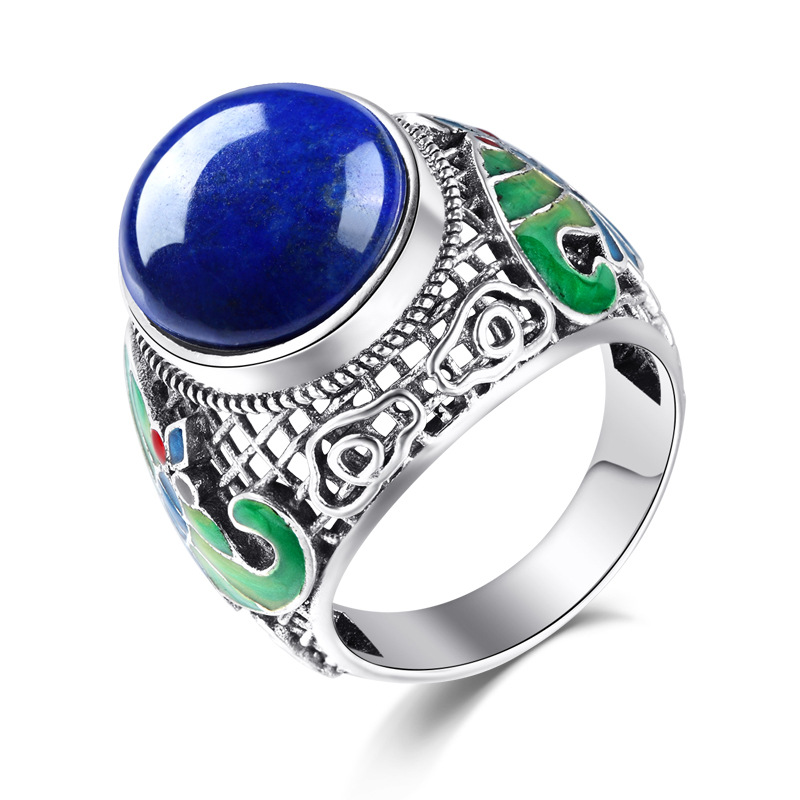 все цены на Long Baolong Sterling Silver Genuine natural Lapis butterfly ring cloisonne enamel ring Ms. new food