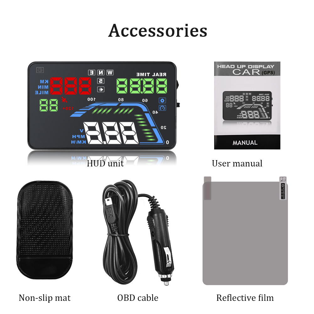 Image 5 - Universal Car GPS HUD Q7 GPS Speedometer Car Electronics Q700 OBD Head Up Display Projector Velocimetro Digital Free Shipping-in Head-up Display from Automobiles & Motorcycles