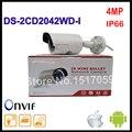 Versão inglês hikvision ip câmera 4mp câmera da bala de segurança com câmera de rede poe ds-2cd2042wd-i de vigilância por vídeo 4mm