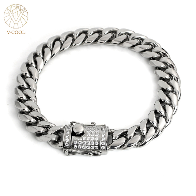 46dbb7d304 US $26.37 |Freeshipping 2 Colors Luxury Gold Color Chain Link Bracelet for  Women Men Ladies Shining Cubic Zircon Crystal Bangle 12mm VB661-in Chain &  ...