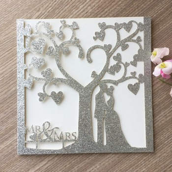 50Pcs High quality shinny silver pocket fancy elegant new glitter paper pink cards wedding party invitation cards 2017 hot sale
