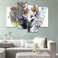 Beautiful Girl Face Canvas Print Painting Modern Face Painted Art Picture for Living Room Wall Decor 4Pcs/Set