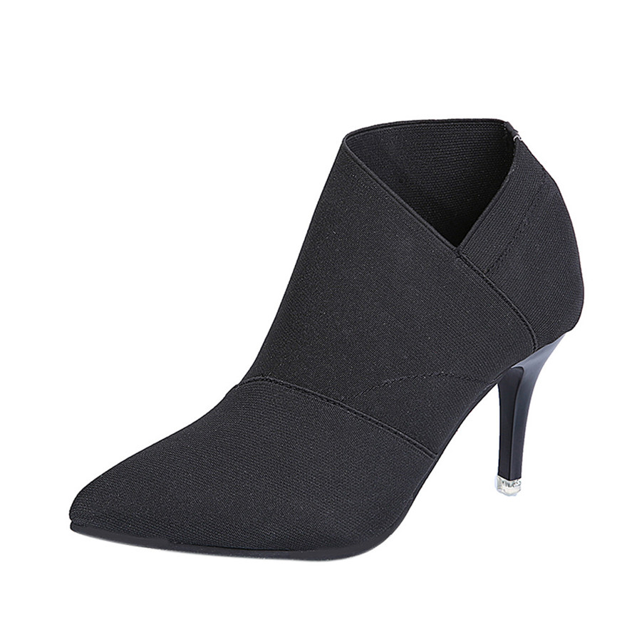 Women Point Toe High-Heeled Boots Autumn Winter Fitted Women Thin Heels Single Shoes Feminine charm Wedding Shoes zapatos mujerS