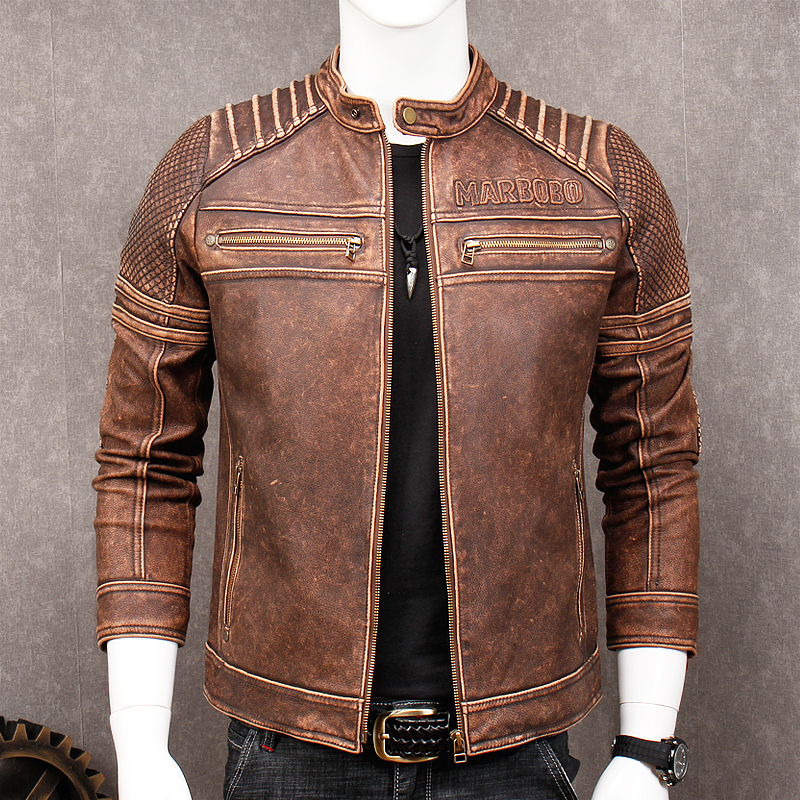 Jacket Biker's Motorcycle Harley Damson Coat Brown Vintage Genuine-Cowhide XXXL Short