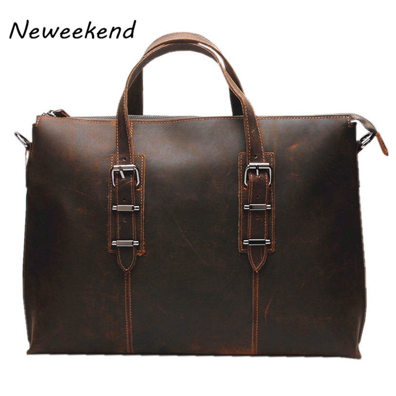 LangDun 3362 Crazy Horse Leather Male 14 Inch Leather Shoulder Bag Portable His Computer Recreation Business Men's Bag aetoo crazy horse leather leather classic classic men s 14 inch business portable computer bag