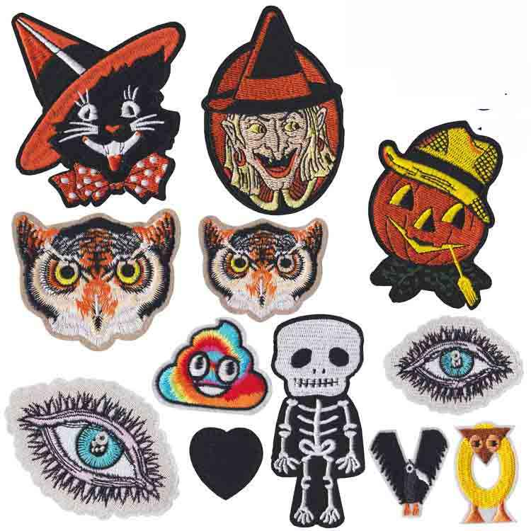 Halloween Combination Pumpkin Witch Owl Embroidered Patch Applique Cute Fabric Badge Garment DIY Apparel Accessories Badges