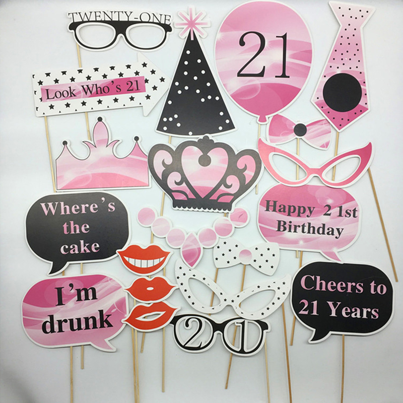 20 Pcs Set 30th 40th 50th 60th Birthday Protobooth DIY Party Decorations Adult Photo Booth Props Anniversaire 30 Ans In Photobooth From Home