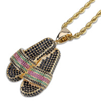 Lucky Sonny Slipper Pendant Colorful CZ Micro Paved Pendants & Necklaces with Rope Chain Gold Color Men Women Hip Hop Jewelry