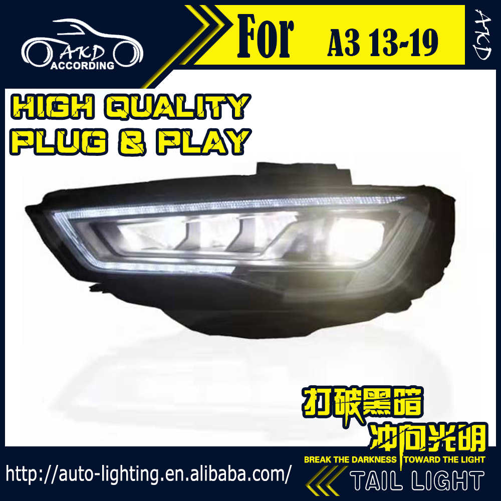 AKD Car Styling Head Lamp for Audi A3 LED Headlight 2013-2016 A3 Headlights New LED DRL light house projector Lens Bi Xenon Beam